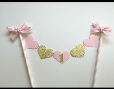 GORGEOUS HEART BUNTING Cake Topper / Birthday / Anniversary GOLD GLITTER & PINK
