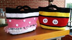 Mickey and Minnie Mouse Crochet Tote Bag Free Pattern