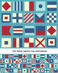 Half Yard Ships Ahoy - Nautical Flags in Azure Blue - Nautical Cotton Quilt Fabric - from Benartex