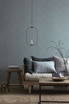 Light fixture. T.D.C | New ideas for walls: Linen Collection wallpaper by Boråstapeter