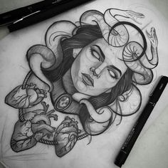 + 100 Best Easy Pencil Drawings Images : Dessin au Crayon – Art & Drawing Community : Explore & Discover the best and the most inspiring Art & Drawings ideas & trends from all around the world Neue Tattoos, Body Art Tattoos, Sleeve Tattoos, Cool Tattoos, Tatoos, Medusa Tattoo Design, Tattoo Designs, Medusa Drawing, Medusa Art