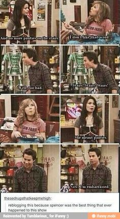 iCarly I don't like that word stairs stairs stairs she meant panties Carly Sam Spencer Stupid Funny Memes, Haha Funny, Funny Posts, Funny Quotes, Hilarious, Funny Stuff, Icarly And Victorious, Victorious Nickelodeon, Nickelodeon Shows
