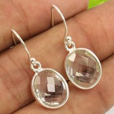 925 Sterling Silver Natural CRYSTAL QUARTZ Checker Faceted Gemstones Earrings…
