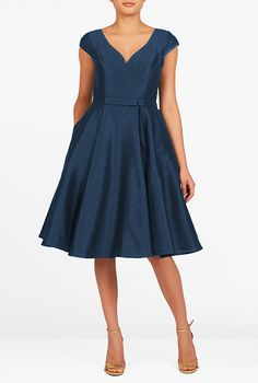 I <3 this Bow tie belted dupioni dress from eShakti