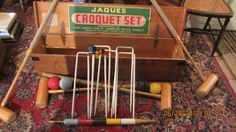 Vintage Jaques Croquet Set Original Pine Box Made In England