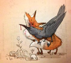 love the fox and raven for a tattoo