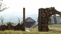 Star Gazer Landscape Made with Wood Logs Landscapes