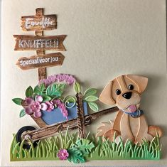 Dog Cards, Kids Cards, Baby Birthday Card, Marianne Design Cards, Animal Crafts For Kids, Spellbinders Cards, Paper Artwork, Animal Cards, Foam Crafts