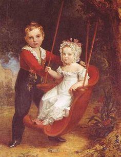 Grand Duke Alexander Nikolaevich (future Tsar Alexander II of Russia) with his younger sister, Grand Duchess Maria Nikolaevna.  1820