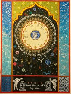 "Janet Ivas Studio -  Astrology Charts  hand painted astrology chart Gemini stellium in eighth, Scorpio moon, mars conjunct Libra ascendant. ""Wonder is an acknowledgement of the power of the mind to transform"" written on painting."