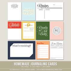 Document your cooking or baking adventures in the kitchen with this set of ten digital journaling cards. They are perfect for Project Life, pocket. Project Life Scrapbook, Project Life Album, Life Journal, Journal Pages, Digital Stamps, Digital Scrapbooking, Homemade Stamps, Life Page, Digital Journal