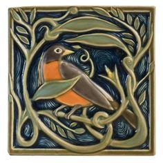 Revival Robin Tile - Artist: Terri Kern  - Rookwood Pottery - Cincinnati, Ohio