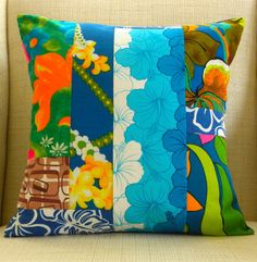 18 x 18 Pillow Cover  Vintage Crazy Quilt Hawaiian by SuzanneBag, $40.00 -- Love me some vintage Hawaii.