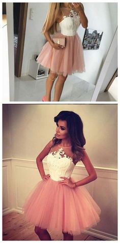 Pink Tulle Homecoming Dress,appliqu