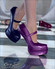 Crazy Shoes - Without Heels DAZ Poser Valea