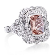 Hey, I found this really awesome Etsy listing at https://www.etsy.com/listing/192559398/18kt-white-gold-long-cushion-cut-pink