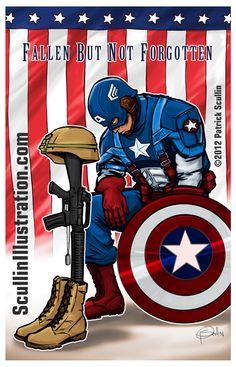 Fallen but not forgotten. Marvel Comic Universe, Marvel Cinematic Universe, Marvel Comics, Military Love, Happy Memorial Day, Geek Humor, Spirit Animal, Comic Strips, Captain America