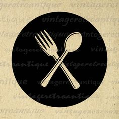 Silverware Icon Graphic Image Digital Fork and Spoon Printable