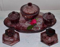 SALE vintage Art Deco amethyst purple Davidson cloud glass dressing table set #Davidson