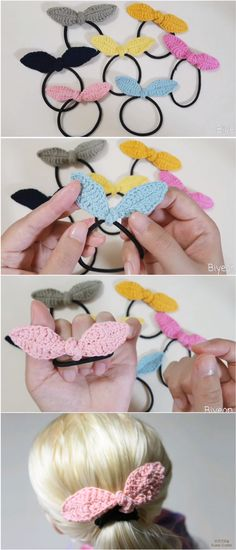 crochet projects Crochet Hair Tie Pattern Is Available For Free! Today I want to introduce you Crochet Hair Tie Pattern, Wonderful Crochet Project. Crochet Hair Clips, Crochet Bows, Crochet Hair Styles, Crochet Gifts, Cute Crochet, Easy Crochet, Doilies Crochet, Crochet World, Baby Hair Accessories