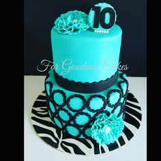 Teal and black cake