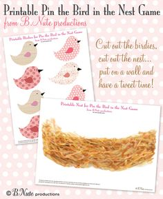bnute productions: Free Printable Pin the Birdie in the Nest Game