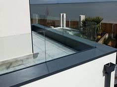 Aluminium Coping System, these Metal Copings are Parapet Wall, or any other Roof. Balcony Railing Design, Glass Railing, Roof Design, Frameless Glass Balustrade, Front Porch Railings, Sips Panels, Glass Balcony, Roof Detail, Roof Plan
