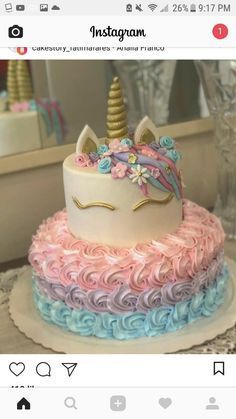 Best Ideas For Cupcakes Unicornio Pastel De Unicorn Birthday Parties, Unicorn Party, Unicorn Cakes, 5th Birthday, Birthday Ideas, Rainbow Unicorn, Cake Birthday, Bolo Laura, Unicorn Themed Birthday