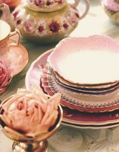 Vintage dishes & peonies
