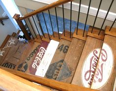 Basement stairs painted wooden crate stairs from Funky Junk Interiors. more great interior projects a Old Crates, Old Pallets, Wooden Crates, Wine Crates, Cageots Vintage, Clock Vintage, Vintage Logos, Vintage Labels, Vintage Prints