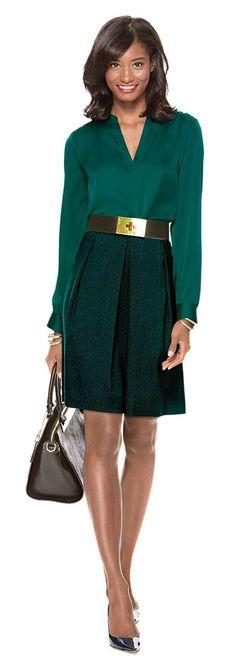 Fall / Winter - Office Wear - work outfit - emerald v-neck blouse + deep green pleated skirt + golden belt + black handbag + black stilettos