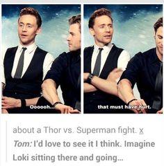 Loki commenting Thor vs. Superman