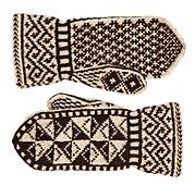 These mittens have long, wide cuffs to help stop the wind from finding its way up your sleeves, and a narrow ribbed wrist to hold them in place. This shape was common on the Swedish island of Gotland.