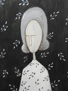 """""""The tiny Lady in gray  - oil on paper"""" by silvia beneforti. Oil painting on Paper, Subject: People and portraits, Illustrative style, One of a kind artwork, Signed on the front, Size: 10.5 x 14.8 x 0.1 cm (unframed), 4.13 x 5.83 x 0.04 in (unframed), Materials: oil colors"""