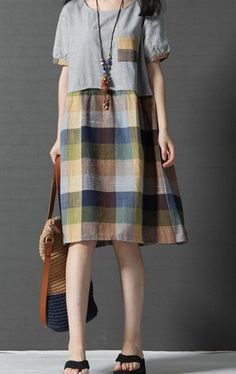 Women loose fit over plus size checkers patchwork dress flax linen tunic casual #Unbranded #dress #Casual