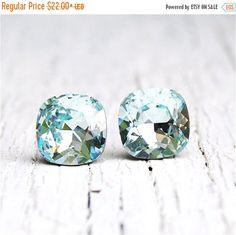 e5c5c9fc3524 Icy Blue Aquamarine Earrings Super Sparklers Square Swarovski Crystal Icy  Aqua Blue Stud Earrings Mashugana