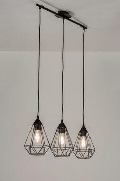 Lampara Colgante 10223: Moderno, Negro, Metal, Oblongo