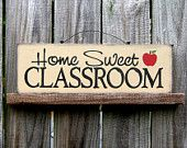 Home Sweet Classroom Sign, Country Tan with Black Lettering and Apple