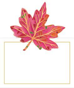 Caspari Jeweled Autumn Foliage Designer Printed Die-Cut Place Cards Wholesale 85938P
