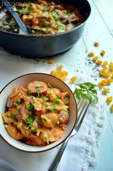Pasta cremosa con salchicha ahumada y tomate (one pot wonder - en un solo sartén) www.pizcadesabor.com