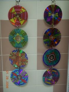 CD mobiles with sharpie. Gloucestershire Resource Centre http://www.grcltd.org/scrapstore/
