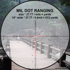 How to estimate range using a mil dot scope by measuring a shoulder width. We usually use for standard shoulder width but we know the person being measured in this example is smaller than standard so we use for shoulder width. Sniper Training, Tactical Training, Tactical Gear, Shooting Targets, Shooting Gear, Range Shooter, Ruger Precision Rifle, Battle Rifle, Military Guns