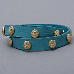 """Designer Inspired Teal Blue & Gold Animal Lions Head Leather Strap Wrap Bracelet, 1/2"""" H, 14"""" + 1 1/2"""" L Hail Mary Gifts,http://www.amazon.com/dp/B00BL2ZC68/ref=cm_sw_r_pi_dp_M0TGsb0G161NDYHY"""