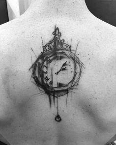 Sketch style clock by Kamil Mokot