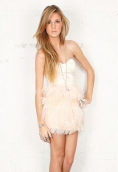 blaque label, feather skirt mini dress.