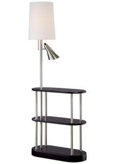 Triple Shelf Brushed Steel Espresso Floor Lamp $299.99