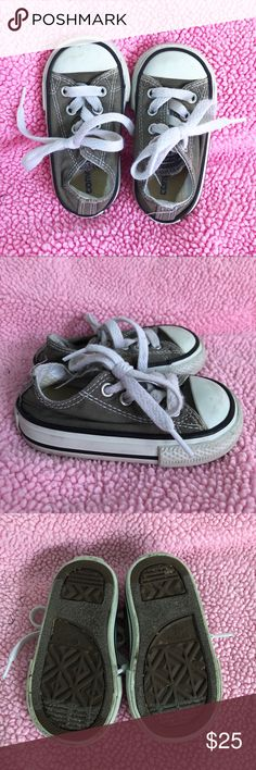 Grey Toddler Converse Shoes Grey Toddler Converse Sneakers in Toddler Size 4 ☠️ Unisex color! Very gentle used, has small signs of wear (as shown in pictures) ☠️ Unisex color and super cute!!  Reasonable offers only please, no trades Price is FIRM when on FLASH SALE.    Any questions? Ask!  Zoom in on pictures!  All my products are 100% authentic! Converse Shoes Sneakers