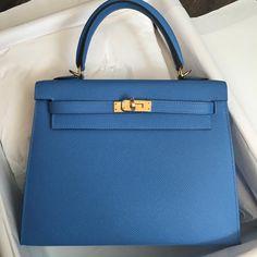 Hermes 25cm Kelly Sellier in bleu paradis Epsom leather Gold hardware