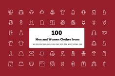 Check out 100 Men and Women Clothes Icons by Creative Stall on Creative Market