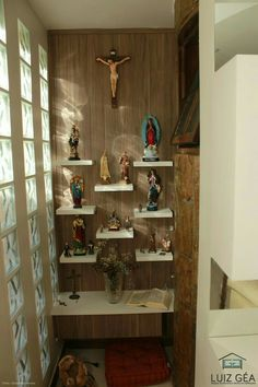 home altar catholic Home Altar Catholic, Altar Design, Prayer Corner, Pooja Room Door Design, Puja Room, Deco Floral, Prayer Room, Sweet Home, Room Decor